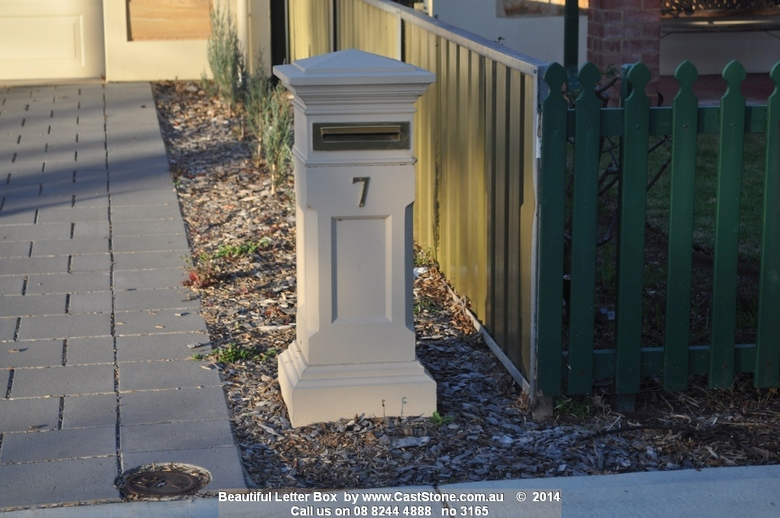 CastStone Painted Torrens letterbox with brass fittings