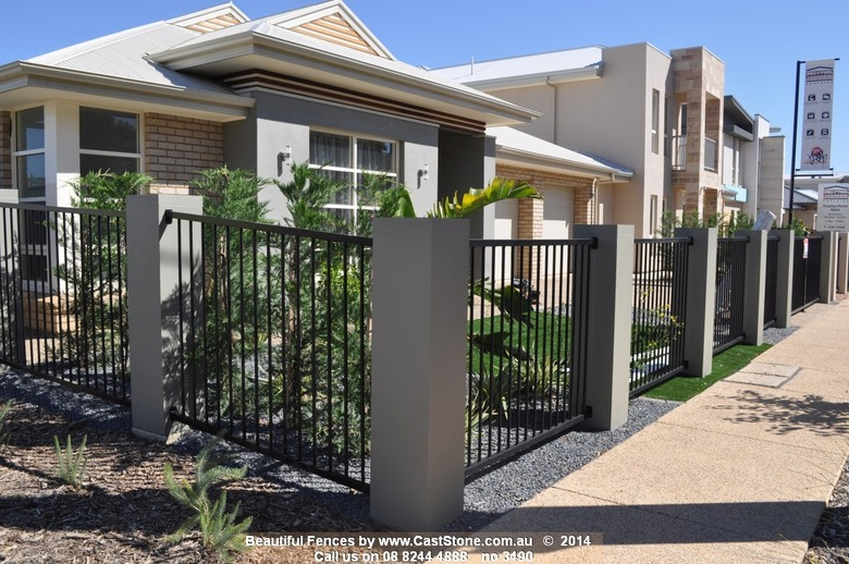Simple modern fence design using CastStone pillars