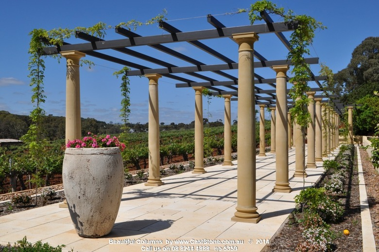 CastStone columns form a winery's pergola amongst the vines